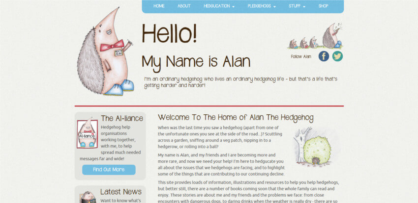Alan The Hedgehog Website