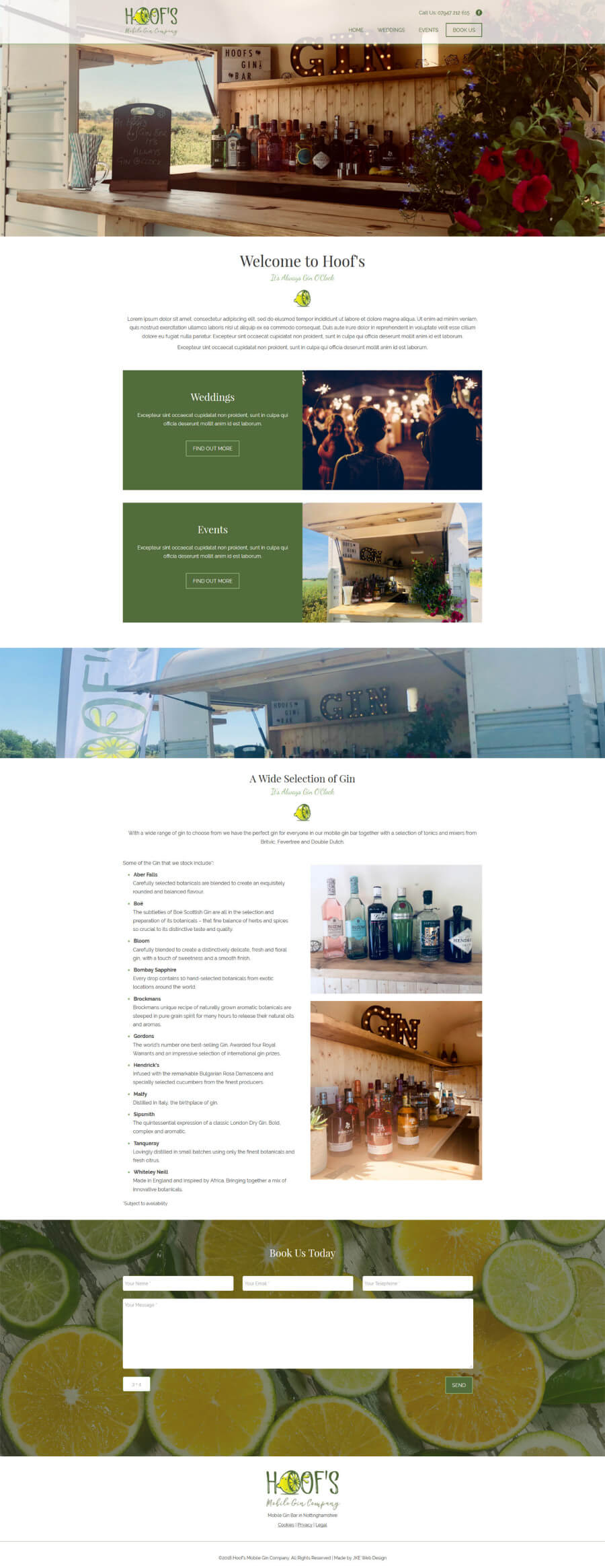 Hoof's Mobile Gin Company website